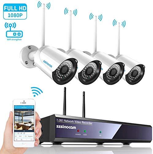 Kit Telecamere Videosorveglianza WiFi NVR,SZSINOCAM Telecamera Sorveglianza 4CH 1080P con Visione Notturna,Motion Detection,Allarme E-mail,IP66 Impermeabile,4 Wireless Videocamera Esterno