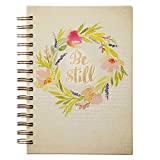 """Christian Art Gifts Large Hardcover Notebook/Journal   Be Still Watercolor – Psalm 46:10 Bible Verse   Floral Inspirational Wire Bound Spiral Notebook w/192 Lined Pages, 6"""" x 8.25"""""""