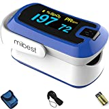 MIBEST Dark Blue Dual Color OLED Finger Pulse Oximeter - Blood Oxygen Saturation Monitor with Color OLED Screen Display and Included Batteries - O2 Saturation Monitor