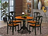 East West Furniture Dinette Set- 4 Wonderful Kitchen Chairs - A Wonderful Mid-Century Dining Table- Wooden Seat- Cherry and Black Wood Table