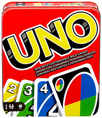 UNO Family Card Game, with 112 Cards in a Sturdy Storage Tin, Travel-Friend...