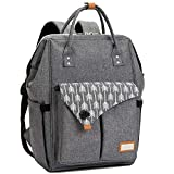 Lekebaby Diaper Bag Backpack for Mom in Grey with Arrow Print