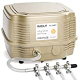 INCLY 7W Aquarium Air Pump 245 Gallon with 4 Adjustable Filter Outlet, Commercial & Quiet Water Hydroponics Oxygen Bubbler for Fish Tank Pond Air Stone