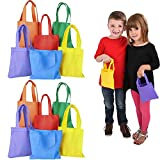 Kids Tote Bags Multi-Color, Perfect for Back to School, Gift-Giving, Trick-Or-Treats, 6' x 6' Inches (12-Pack)