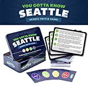 "125 trivia cards with 500 Questions about Seattle sports Easy ""Race to 21"" game play Football. Baseball. Basketball. Players. Coaches. Trades. Draft picks. Numbers and records. Buildings, ballparks, and arenas. It's all here."