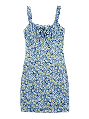 Square neck, sleeveless, ditsy floral, boho mini sundress Frilled strap, ruched bust, knot front, casual fitted bodycon dress Fabric has some stretch Perfect for daily life, going out, travel, picnic, vacation and everyday wear Please refer to size g...