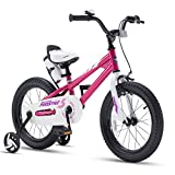 RoyalBaby Kids Bike Boys Girls Freestyle BMX Bicycle with Training Wheels Kickstand Gifts for Children Bikes 16 Inch Fuchsia