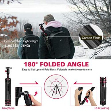 PHOPIK-79-inches-Carbon-Fiber-Camera-Tripod-Monopod-with-360-Degree-Ball-Head14-inch-Quick-Shoe-PlateProfessional-Tripod-Load-up-to-265-pounds-2-in-1-Collapsible-Ultra-Lightweight-Travel-Tripod