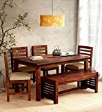 sarswati furniture sheesham wood standard dining table 6 seater | wooden dinning room furniture | 4 chair & 2 seater bench with cushions | 1 table | balcony dining set | honey finish