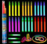 Glow Sticks Bulk 52 Pieces Including 28 6' Long 0.6' Extra Thick Industrial Grade Glowsticks Emergency (3 in Whistle Shape) and 24 8' Long Glow Stick Bracelets for July 4th Party Halloween Party