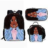 Conjunto 3Pieces para Mochila Niños Black Girls Magia Africana Bookpack Schoolbags + Comida + Bolso De La Pluma De Muchachos De Las Niñas Hombro Bagpack