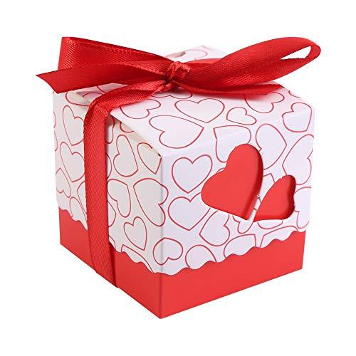 HERCHR 50 Cajas cuadradas para Regalos de Fiesta, Cajas de Dulces de Chocolate con Forma de corazón, Caja de Regalo con Cinta para Boda, cumpleaños, Fiesta de Navidad(Corazón Rojo)