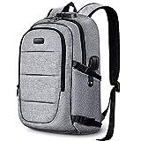 Mochila antirrobo para portátil de 15.6 a 17.3 pulgadas, mochila de viaje de negocios con bloqueo con puerto de carga USB y auriculares, resistente al agua, mochila de trabajo para hombre y mujer