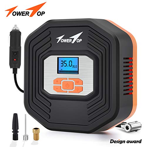 TowerTop Portable Air Compressor Pump/12V DC Digital Tire Inflator, Automatic Shut Off at Preset Pressure, 3 Way Safety LED Lights Ideal for Car, Bicycle, Motorcycle, Balls