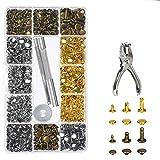 ILS - 360 remaches de piel con doble capuchón Herramienta de fijación de metal con kit de pinzas para punzones Herramienta de reparación de botones