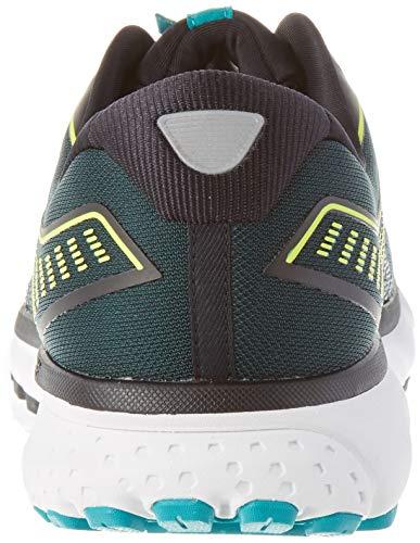 Brooks Mens Ghost 12 Running Shoe – Black/Lime/Blue Grass – B – 10.5