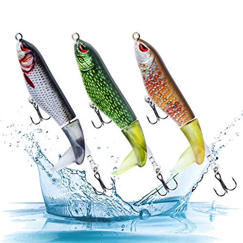 Actume Artificial Bait Fishing Lure Rotating Tail, 3PCS Fishing Topwater Lures Set with 2 Strong Treble Carbon Steel Hooks, 15.3g/4.33inch Fishing Tackle Bait for Freshwater and Saltwater