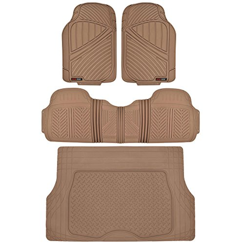 Motor Trend Flextough Odorless Rubber Car Floor Mats Front & Rear with Trunk Cargo Liner Trunk Set, Extreme Heavy Duty, Beige (MT-773-BG+MT-884-BG)