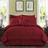 MERRY HOME Comforter Set Queen Size, 10 Piece Comforter Bedding Set with Sheet Set Fit 14' Deep Pocket - Plush Luxury Solid Color Quilted Pattern for All Season, Burgundy