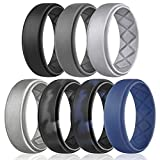 Egnaro Silicone Wedding Ring for Men, Breathable Mens' Rubber Wedding Bands, Size 8 9 10 11 12 13, for Crossfit Workout