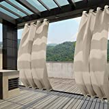 Macochico Grommet at Top and Bottom Beige Outdoor Water Resistant Curtains Dustproof Privacy Protection Heat Insulated for Patio Garden Backyard Cabana 100Wx102L (1 Panel)