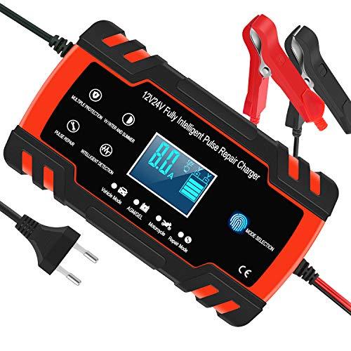 Yomao Autobatterie Ladegeräte 8A 12V/24V Vollautomatisches Batterieladegerät KFZ mit LCD-Bildschirm Erhaltungsladegerät für Auto und Motorrad (für Batterien von 6Ah-150Ah)