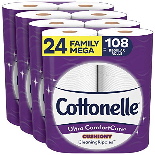 Cottonelle Ultra ComfortCare Toilet Paper with Cushiony CleaningRipples, 24 Family Mega Rolls (4 Packs of 6), 2-Ply Soft Bath Tissue (24 Family Mega Rolls = 108 Regular Rolls)