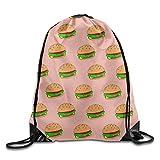 uykjuykj Bolsos De Gimnasio,Mochilas,Cheeseburger Unisex Drawstring Backpack Travel Sports Bag Drawstring Beam Port Backpack. Lightweight Unique 17x14 IN