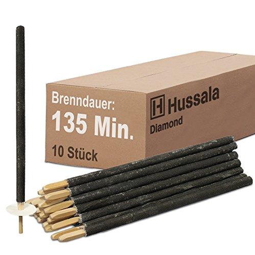Hussala - Diamond Wachsfackeln Brennzeit 135 min Garten-Fackeln [10 Stück]