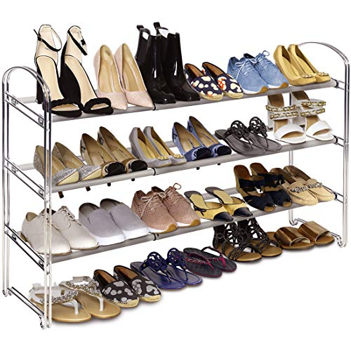 Seville Classics 3-Tier Expandable 24-Pair Shoe Rack Non-Slip Metal Freestanding Closet, Entryway, Bedroom Footwear...