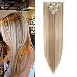 S-noilite - Extension a Clip Cheveux Naturel Clip in Hair Extensions Tête Pleine 8 Bandes 18 Clips 66cm Tout Droit - Blonde de sable & blond de blanchiment