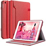 ULAK iPad 2017/2018 iPad 9.7 inch Case, Slim Lightweight Canvas Folio Stand Smart Case Flexible Soft TPU Back Cover with Auto Sleep/Wake Function, Apple Pencil Holder for iPad 9.7 inch - Red