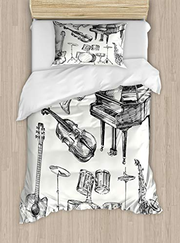 Ambesonne Jazz Music Duvet Cover Set, Illustration of Musical Instruments Sketch Style Art with Trumpet Piano Guitar, Decorative 2 Piece Bedding Set with 1 Pillow Sham, Twin Size, Ecru Black