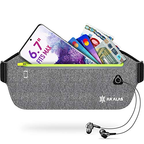 Akalas Ultra Slim Running Belt, Water Resistant Sport Bumbag, No Bounce Ultra Light Runner Waist Pack, Adjustable Waist Bag for Gym Workouts, Travel & Outdoor Activities