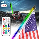 1Pcs 4FT LED Whip Light with Flag Pole Smoked Black RGB Whip Lights Remote Control Color Chasing Dancing Light Safety Antenna LED Whips for ATV Utv RZR Truck Off Road Polaris 4x4 Dune