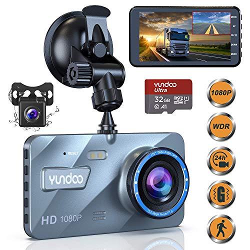 YUNDOO Dash Cam Telecamera per Auto Anteriore e Posteriore 1080P FHD 4'IPS schermo con scheda SD da 32 GB, Grandangolo 170 °, G-Sensore, Registrazione in loop