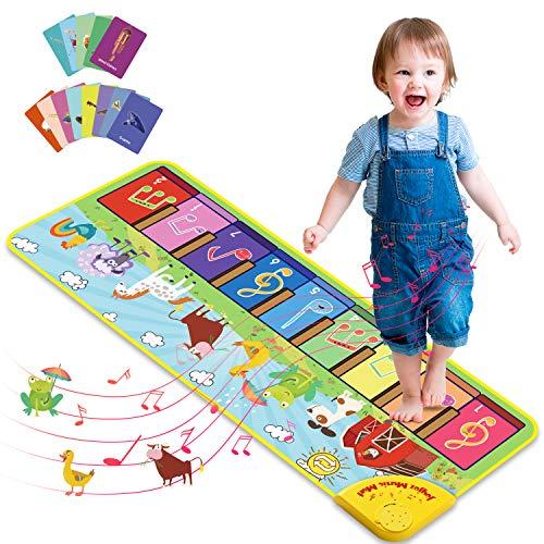 Joyjoz Tappeto Musicale Bambini con 25 Suoni, Tappeto Piano con 7 Suoni di Animali, Tappeto Danza Musicale Tocco Mat Bambini Educativo Giocattolo per Bambini 1 a 5 Anni (100 x 36cm)