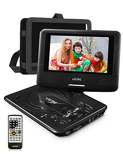 UEME Mini DVD Player for Kids with 7 inches Swivel Screen and Internal Rechargeable Battery, Support DVD CD USB SD Card, with Car Headrest Mount Holder, Region Free