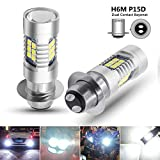 Boodlied 9-30V H6M LED Headlight Bulbs 1600Lumens Super Bright 3030 21SMD Chips P15D Motorcycle LED Fog Headlights or Daytime Running Lights with High Low Beam.White.2-Pack.