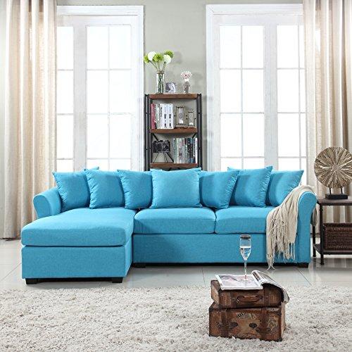 Divano Roma Furniture Modern Sectional, Large, Sky Blue