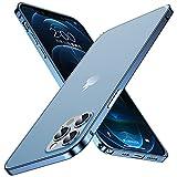 KEVKEEK iPhone 12 Pro 用ケース アルミ製 金属 ブルーフレーム バンパー+半透明 マット感 背……