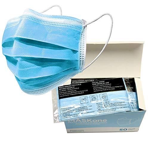 MASKOne - Mascherine Chirurgiche 50 pezzi non sterili di tipo I monouso – Mascherine certificate CE a 3 strati con elastici – Mascherine imbustate singolarmente, a uso medico