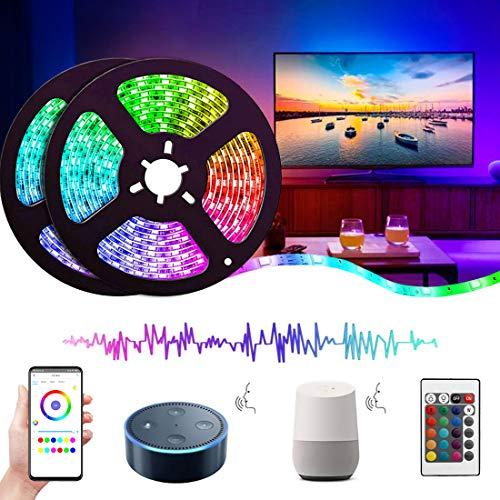 Striscia Led 10 Metri Alexa, REETWO Nastri Multicolore 300 LEDs, Smart Wifi Telefono App Controllato, Kit Strisce RGB, Illuminazione Interno/Esterno, Impermeabile, Autoadesiva, Flessibile