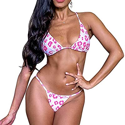 【Sexy Leopard Style】: This two pieces bikini set is covered with leopard animal print throughout, adding to a sexy flattering style. 【Top Features】: The triangular padded bra offers great support and enhances your shape. Adjustable spaghetti straps a...
