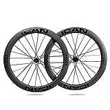 ICANIAN Ruedas de Carbono Alpha 55 Disc Ruedas de Bicicleta de Carretera 55mm Clincher tubeless Ready Disco Freno 12x100/12x142mm