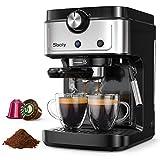 Sboly Macchina per Espresso, Macchina per Caffè 2-In-1 Compatibile Con Capsule Nespresso e Caffè Macinato, Macchina per Espresso a 19 bar Con Serbatoio...