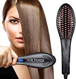 voltonix® Hair Electric Comb Brush 3 in 1 Ceramic Fast Hair Straightener For Women's Hair Straightening Brush with LCD Screen, Temperature Control Display, Hair Straightener For Women (Black)