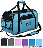 EliteField Soft Sided Pet Carrier (3 Year Warranty, Airline Approved), Multiple Sizes and Colors Available (Medium: 17' L x 9' W x 12' H, Sky Blue)