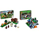 LEGO Minecraft The Pillager Outpost 21159 Awesome Action Figure Brick Building Playset & The Zombie Cave 21141 Building Kit with Popular Minecraft Characters Steve and Zombie Figure