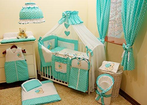 Conjunto de ropa de cama para cuna de bebé, 100% algodón, conjunto completo XXL de 18piezas, diseño bordado de osito, incluye mosquitera azul turquesa Talla:120x60cm